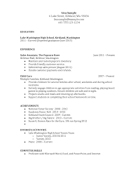 outline resume for high school student achievement examples for resume