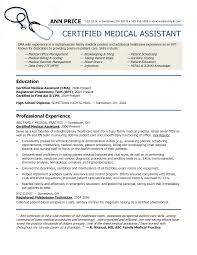 sample resume for medical assistant sample resume  certified