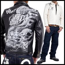 rodeo bros x zen zen kyo den sum pattern limited collaboration with leather riders jacket white dragon hand painted leather kl017