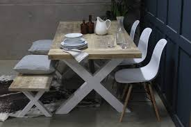 king s cross reclaimed wood dining table with x frame