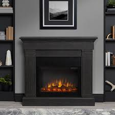 freestanding electric fireplace in gray
