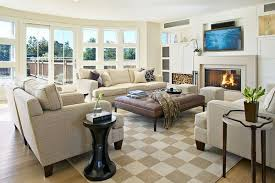 How to Decorate Large Living Room: Beige Living Room with Checkered Floor