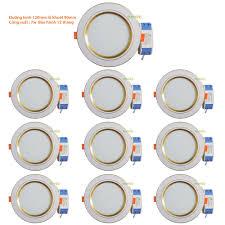 Bộ 10 đèn led âm trần viền vàng 7w 2 màu 3 chế độ (trắng –vàng ấm – vàng  nắng) Giá Rẻ, Chất Lượng
