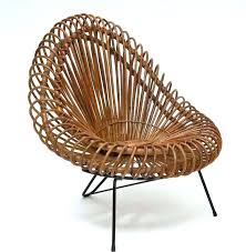 Brown Wicker Lounge Chair Mid Century Modern Rattan And Ottoman In