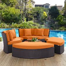 modway furniture convene circular outdoor patio daybed set in espresso orange