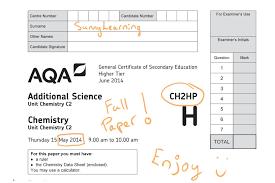 gcse aqa unit 2 chemistry ch2hp june 2016 full paper