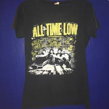 All Time Low T Shirt Design All Time Low T Shirt Yellow And Black Design Says Xl Depop