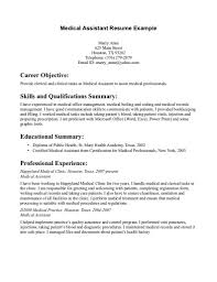 Medical Assistant Resume Samples Resumes Examples Externship Free