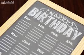 Free birthday crafts printable ~ Free birthday crafts printable ~ Birthday calendar free chalkboard printable tutorial