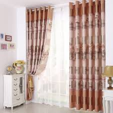 orange and white patterned curtains