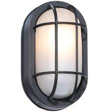 hampton bay black outdoor oval bulkhead wall light