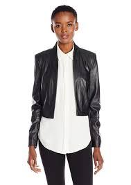 calvin klein women s long sleeve faux leather jacket