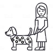 犬ベクトル線アイコン記号背景編集可能なストロークのイラスト女の子 1