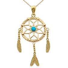 details about solid 14k yellow gold turquoise stone flower dream catcher pendant necklace