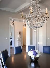 chic dining room features a coffered ceiling accented with paris regarding flea market chandelier idea 3