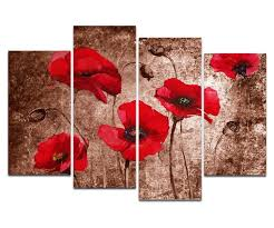 4 pcs red poppies flowers wall art for living room canvas print painting wall picture for on red poppy flower wall art with 4 pcs red poppies flowers wall art for living room canvas print