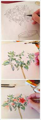 2 draw a flower in a pot and add gorgeous tones
