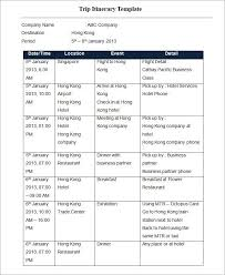 Word Travel Itinerary Template Trip Itinerary Template 4 Free Word Excel Documents