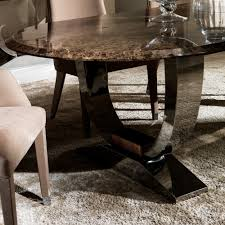 oval high end marble italian dining table set