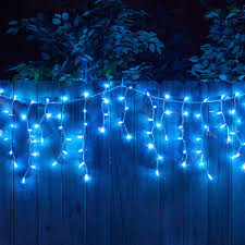 Blue Outdoor Lights For 6 99 Blue Mini Outdoor Icicle Lights 100 Bulb Icicle