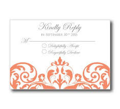 response cards template wedding response card template instant download damask coral