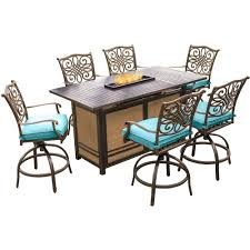 hanover traditions 7 piece aluminum rectangular outdoor high dining set with fire pit with blue