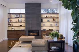 grey brick ceramic fireplace decorating ideas for small living room with baseboards and built in wooden