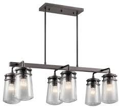 kichler 49835az lyndon six light outdoor linear chandelier architectural bronze