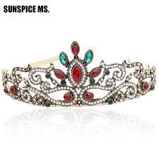Grace Femmes Lumière Couronne Rouge Mariée Indien Cristal Tête Bijoux Princesse Reine Turque Mariage Cheveux Accessoires Coiffure Cadeau