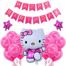 1set Pink Unicorn Color Happy Birthday Letter Hello Kitty Balloons Baby Shower Happy Birthday Party Background Wall Decoration