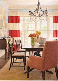 image of horizontal striped curtains red