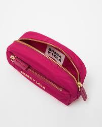 S Fuchsia Semi Oval Make Up Case