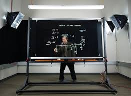 the lightboard is a 4 x 8 ft pane of architectural glass lit by 8 ft strips of white leds at the top and bottom of the frame the transpa board lets