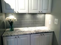 white subway tile with white grout grey subway tile grey glass subway tile and white cabinet