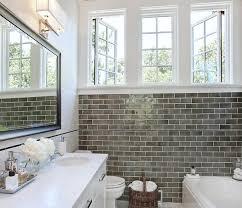 bathroom gray subway tile. Full Size Of Bathroom: Smoke Glass Subway Tile Bathroom With Wall Mirror And Bathtub Sink Gray -