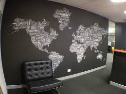 World Map Wall Decor For Modern Office Design With Black And