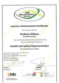 safety representitive health and safety representative certificate