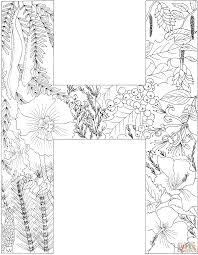 Small Picture Letter H with Plants coloring page Free Printable Coloring Pages