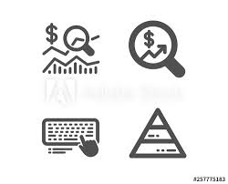 Investment Pyramid Chart Set Of Computer Keyboard Currency Audit And Check