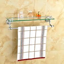 bathroom towel rack shelf wall mounted glass with bar