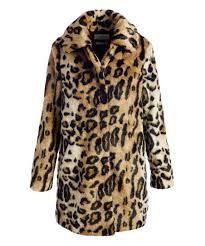 Kensie Brown Leopard Faux Fur Trench Coat Women