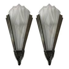 art deco wall sconces. Beautiful Pair Of French Art Deco Wall Sconces Signed By Degue For Sale N