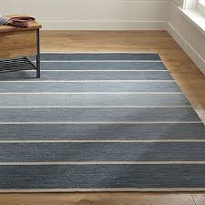 bold blue striped wool blend dhurrie rug crate and barrel