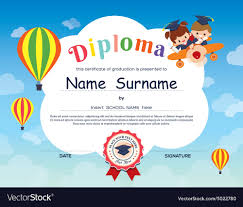 Elementary School Kid Diploma Certificate Template