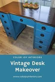 vintage desk makeover painted