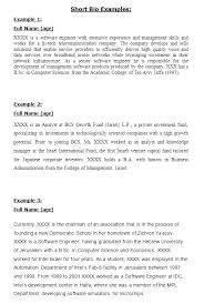 Sample Biographical Essay Personal Bio Examples Lapos Co