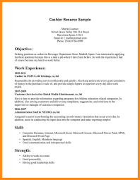 Cashier Job Resume Wonderful Resume Sample Cashier Position Gallery Entry Level 92
