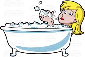 1024x692 a woman blowing bubbles in a tub cartoon clipart vector toons