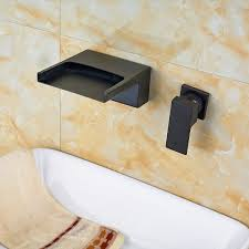 resica single handle wall mounted oil rubbed bronze waterfall bathroom sink faucet with hot