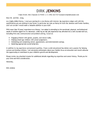 Cover Letter For Nanny Job The Letter Sample